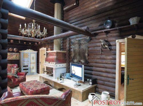 Интерьер деревянной дачи. Фото