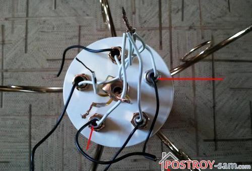 Соединение проводов люстры