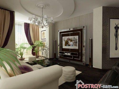 Комбинирование обоев в гостиной фото