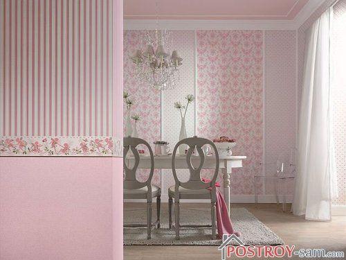 Розовые обои в кухне