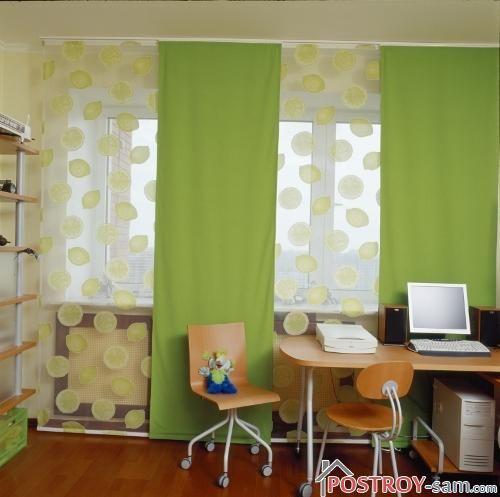 Однотонные зеленые шторы для детской