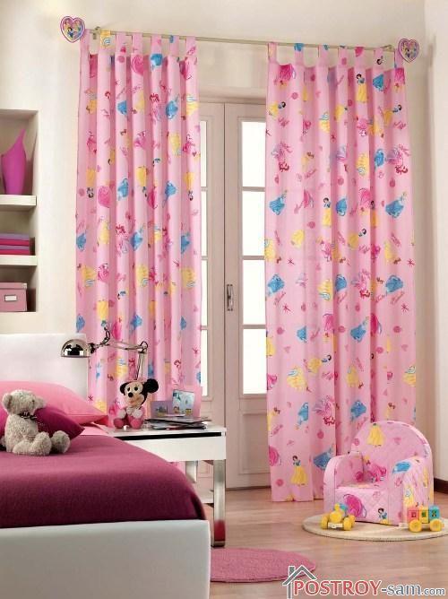 Красивые розовые шторы