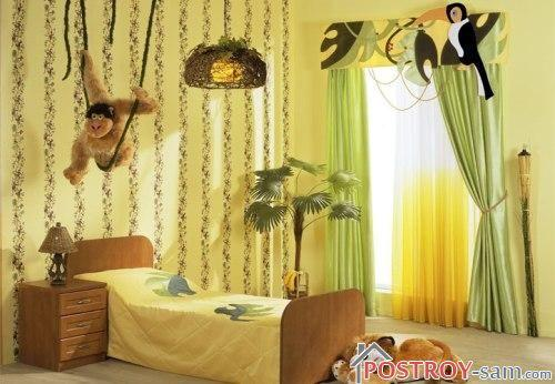 Зеленые шторы с желтой тюлю
