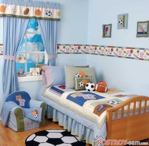 Голубые штори в детской