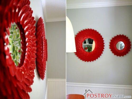 Самостоятельное декорирование зеркала в ванной ложками