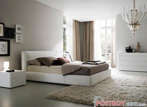 Сочетание бежевого и серого в спальне фото