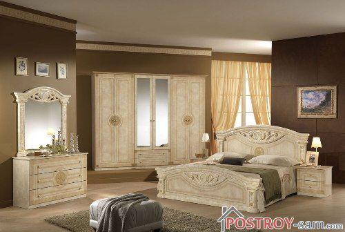 Сочетание бежевого и коричневого в спальне