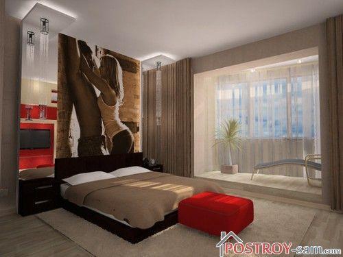 Сочетание красного с бежевым в спальне