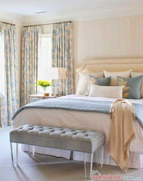 Бежевой и голубой цвет в интерьере спальни