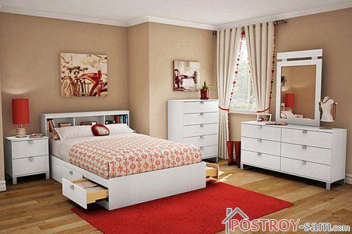 Сочетание бежевого и оранжевого цвета в спальне