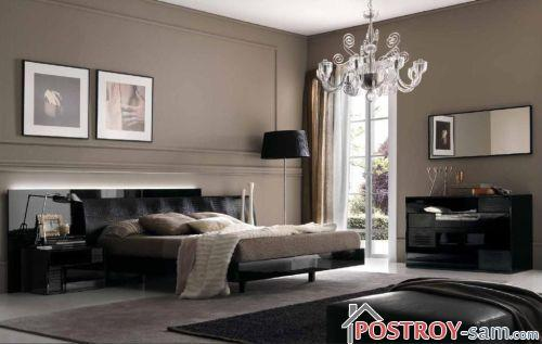 Черный и бежевый в интерьере спальни