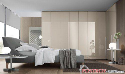 Бежевый и серый цвет в спальне