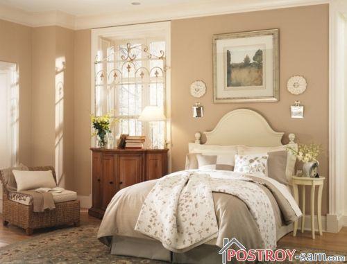 Интерьер бежевой спальни