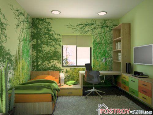 Рисунки растений на стенах комнаты