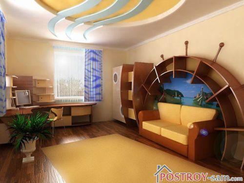 Желто-коричневый интерьер комнаты подростка