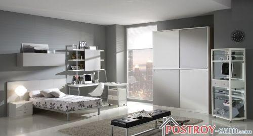 Серый цвет комнаты подростка