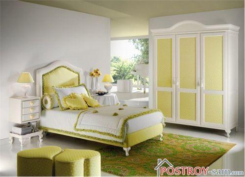 Зеленые цвета в интерьере спальни