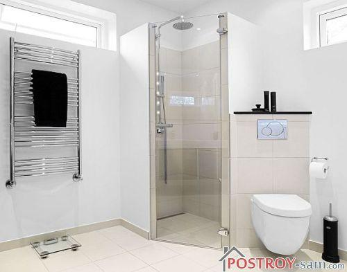 Дизайн ванной с душевой кабиной без поддона
