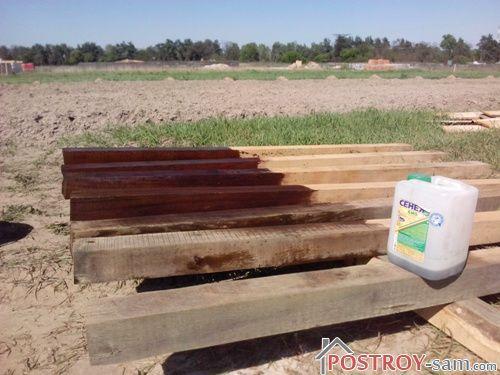 Обработка деревянных столбов забора