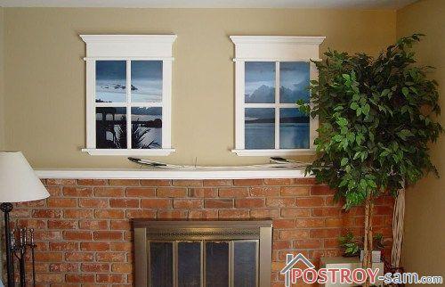 Ложные окна с рамой, расположенные на ровной поверхности