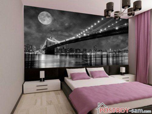 Спальня с фотообоями в современном стиле