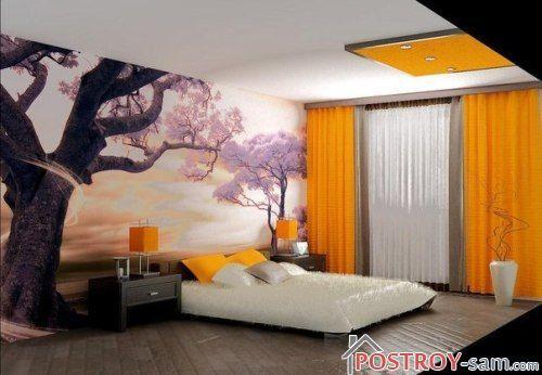 Современная спальня с фотообоями