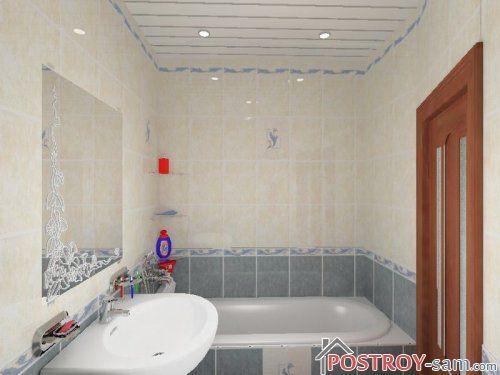 Оформление стен и потолка в ванной