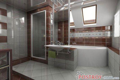 Интерьер ванны с душевой кабинкой