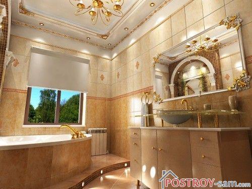 Ванна комната в медных терракотовых оттенках