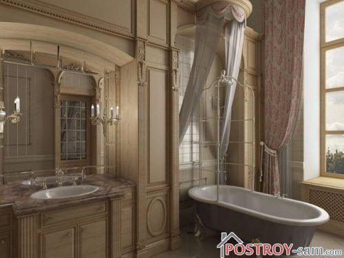 Интерьер ванной и туалета в классическом стиле