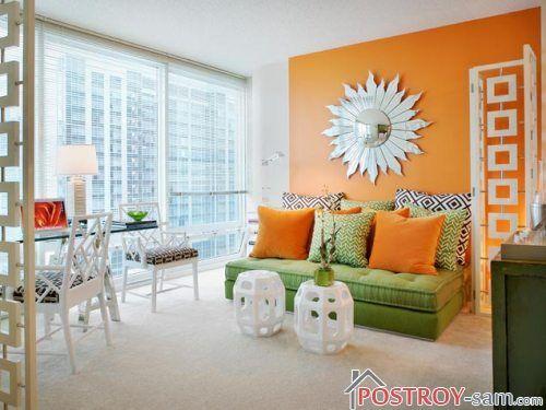 Оранжевый с зеленым в интерьере