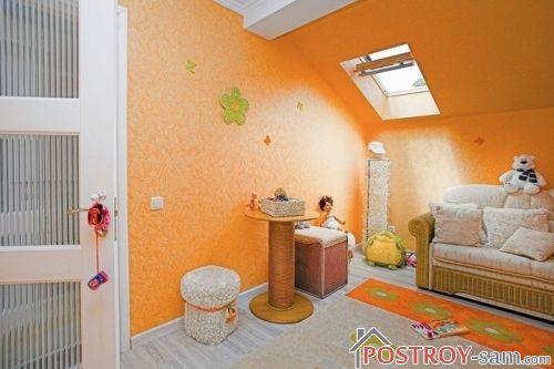 Оранжевый цвет в интерьере детской комнате