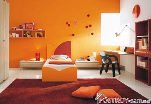 Оранжевый цвет в интерьере детской фото