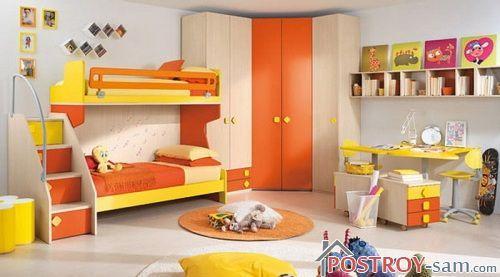 Оранжевые цвета в интерьере детской
