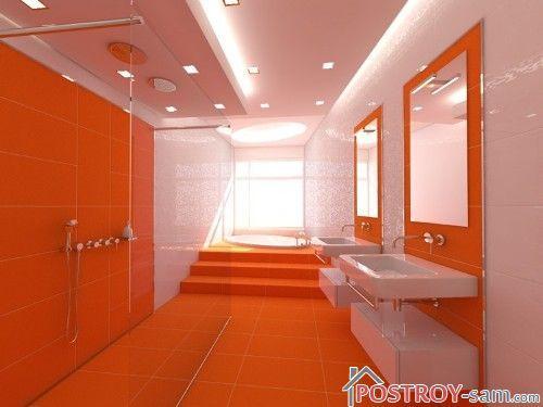 Оранжевый цвет в интерьере ванной фото