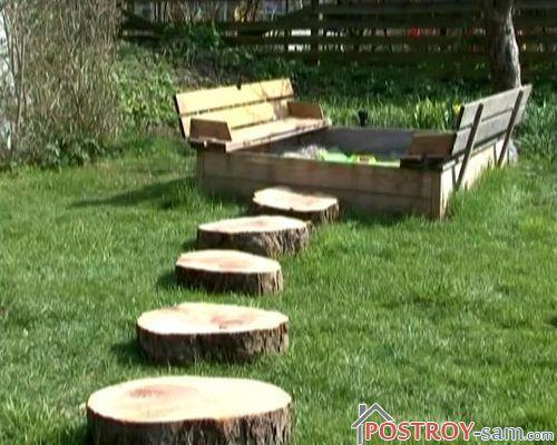 Деревянная плитка своими руками для устройства дорожек