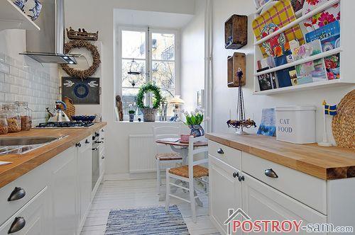 Дизайн интерьера длинной и узкой кухни