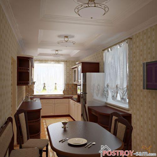 Дизайн узкой кухни. Фото