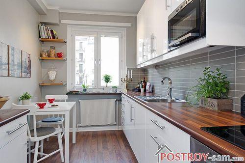 Дизайн узкой кухни. Как правильно оформить длинную кухню? Фото