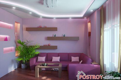 Интерьер гостиной с фиолетовым цветом