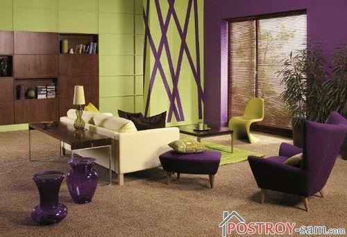 Сочетание зеленого с фиолетовым