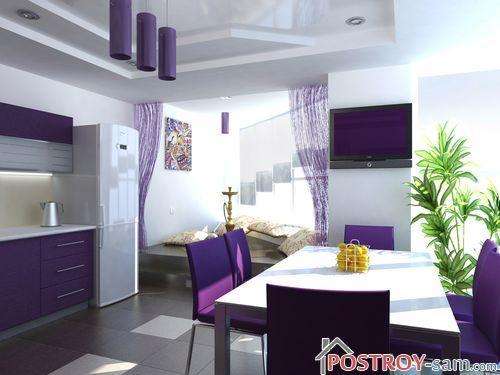 Сочетание белого с фиолетовым