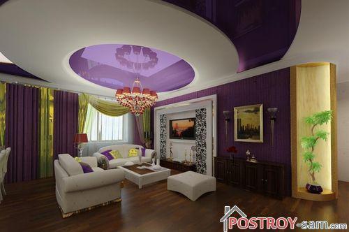 Создании интерьера в фиолетовом цвете