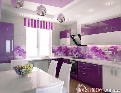 Красивая фиолетовая кухня