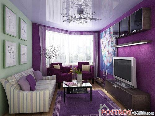Как правильно применять фиолетовый цвет в интерьере гостиной, кухни, спальни?