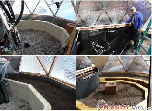 Обустройство внутреннего пространства теплицы геодезический купол