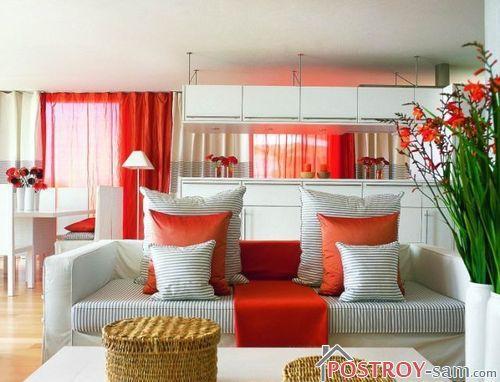 Сочетание красного и белого цвета в интерьере