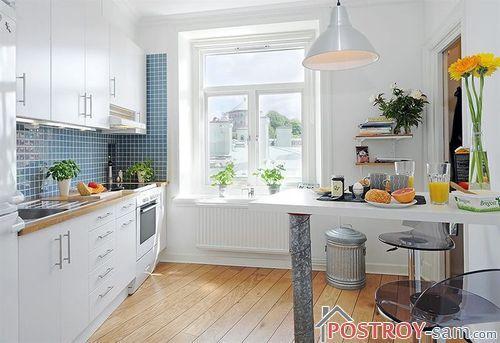 Белый и синий цвет кухни