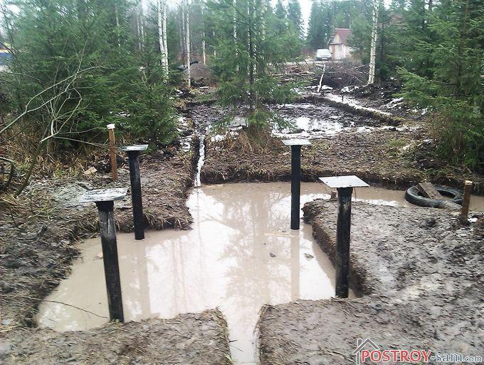 Как сделать фундамент на болоте своими руками?