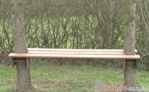 Как сделать скамейку между деревьев